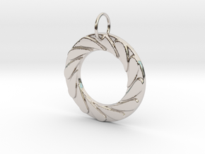 Water Well Pendant in Rhodium Plated Brass