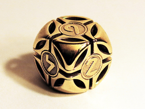 Bullseye D6 in Polished Brass