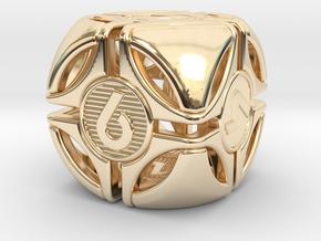 Bullseye D6 in 14K Yellow Gold