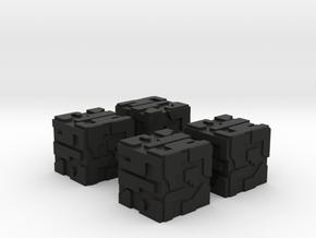 Game Piece, Hive Battlecube 16mm 4-set in Black Natural Versatile Plastic