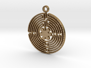 Labyrinth Prayer Pendant in Polished Gold Steel