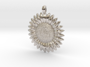 Sunflower Pendant in Rhodium Plated Brass