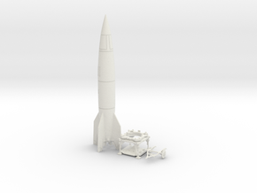 TT Gauge - V2 Rocket With Platform and Dolly in White Natural Versatile Plastic