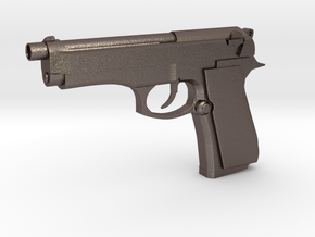 Gun in Polished Bronzed Silver Steel
