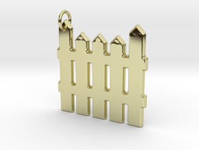 White Picket Fence Keychain in 18k Gold Plated Brass