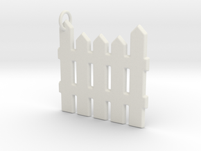 White Picket Fence Keychain in White Natural Versatile Plastic
