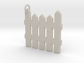 White Picket Fence Keychain in Natural Sandstone