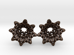 """The Chrysanthemums Plugs /gauge /size1/2""""(12mm) in Polished Bronze Steel"""