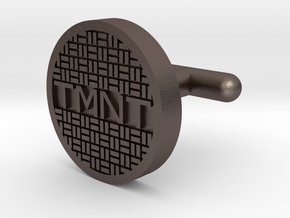 TMNT Sewer Cover Cuff Link in Polished Bronzed Silver Steel