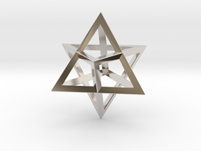 Double Tetrahedron, Merkabah in Rhodium Plated Brass