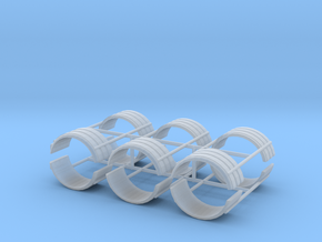 1/64th Dual tire fender set of six in Smooth Fine Detail Plastic