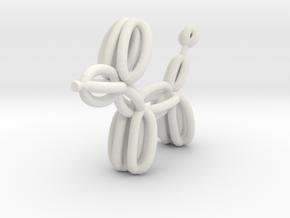 Balloon Dog Pendant in White Natural Versatile Plastic