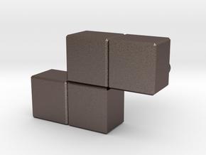 """""""Z"""" Tetris Cufflink in Polished Bronzed Silver Steel"""