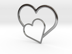 Hearts Necklace / Pendant-03 in Polished Silver