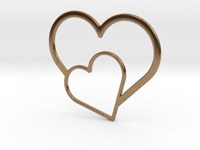 Hearts Necklace / Pendant-03 in Natural Brass