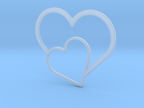 Hearts Necklace / Pendant-03 in Smooth Fine Detail Plastic