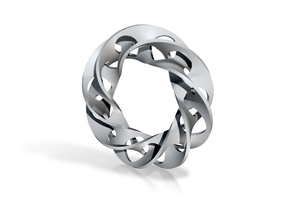 Double Self-intersecting Mobius Strip in White Strong & Flexible Polished