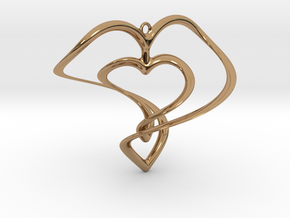 Hearts Necklace / Pendant-01 in Polished Brass