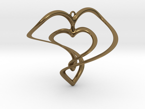 Hearts Necklace / Pendant-01 in Polished Bronze