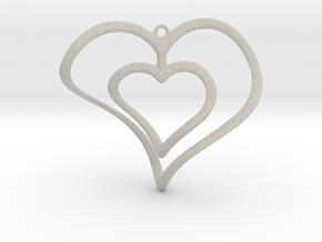 Hearts Necklace / Pendant-02 in Natural Sandstone