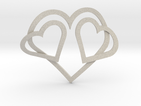 Hearts Necklace / Pendant-05 in Natural Sandstone