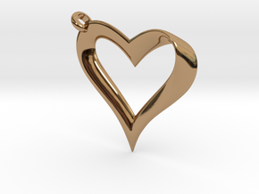Mobius Heart Pendant in Polished Brass