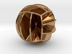 DRAW pendant - volleyball style 1 in Polished Brass