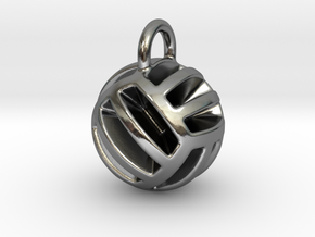 DRAW pendant - volleyball style 2 in Polished Silver