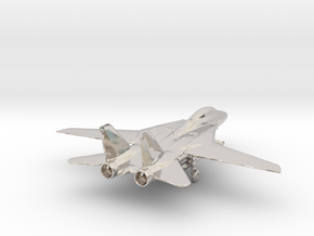 F14 grumman jet gold & precious materials small in Rhodium Plated Brass