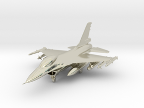 F-16 Fighting Falcon Jet Gold & Precious materials in 14k White Gold