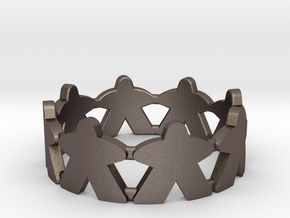 Meeple ring, size 13 1/2 (US) / 71 (ISO) in Polished Bronzed Silver Steel