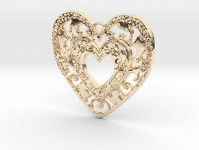 Flourish Heart Pendant in 14K Yellow Gold