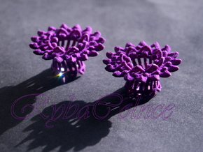 Plugs The Chrysanthemum / gauge / size 3/8 (10mm) in Purple Strong & Flexible Polished