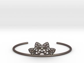 Half Mandala Cuff - small in Polished Bronzed Silver Steel