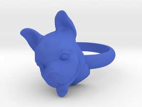 French Bulldog  ring in Blue Processed Versatile Plastic