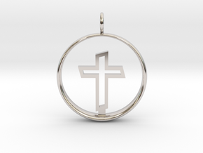 Cross Pendant 2 - (Medium) in Rhodium Plated Brass