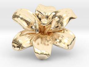 Lily Flower 1 - M in 14k Gold Plated Brass