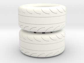 1/16 Scale Pair Of 325 50 15 MT Slicks in White Strong & Flexible Polished