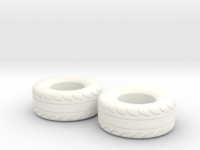 1/25 Scale Pair Of 325 70 15 MT Slicks in White Processed Versatile Plastic