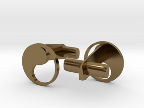 Yin Yang Hollow Cufflinks in Polished Bronze