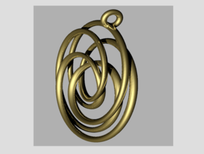 Pendant toroid camelia  in 14k Gold Plated Brass