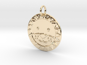 Cute Lion Face in 14K Yellow Gold