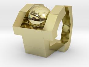 Board Game 'Tsumi Yoga' Block#2 in 18k Gold Plated Brass