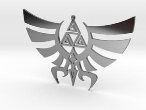 Triskele Hyrule Crest Pendant in Fine Detail Polished Silver