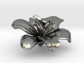 Lily Flower Rock 1 - S in Fine Detail Polished Silver