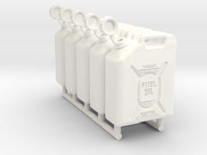 1-18 Military Fuel Can 5 Units in White Processed Versatile Plastic