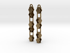Stacked Hexagon Earrings in Polished Bronze