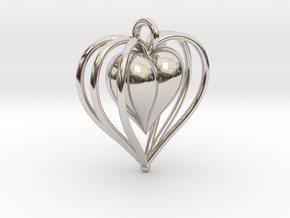 Hearts Cage in Rhodium Plated Brass