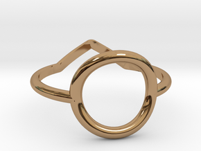 Two sides Ring Size M / 6 (Medium) in Polished Brass