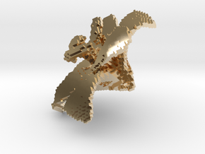 Lily Flower 1 Block - L in 14k Gold Plated Brass